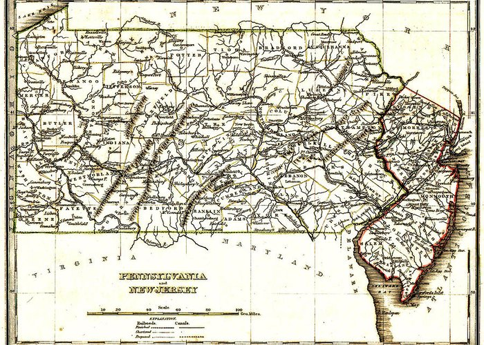 1835 Pennsylvania And New Jersey Map Greeting Cards