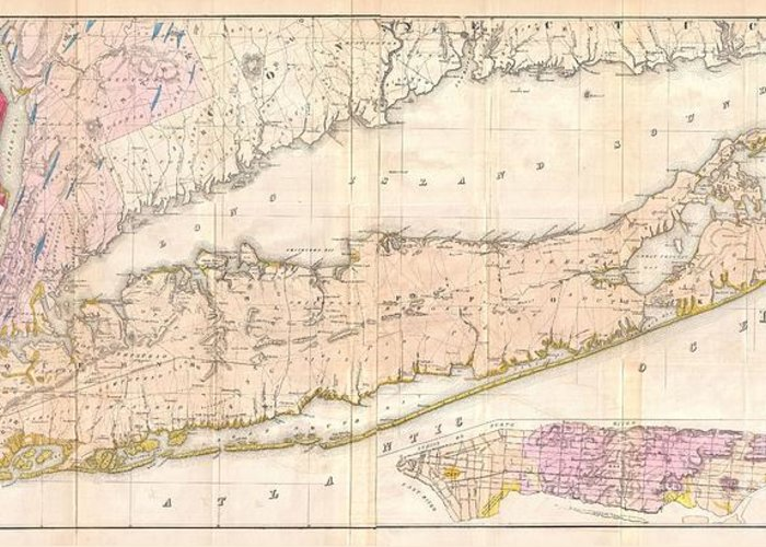 Issued Prior To The American Civil War And The Subsequent Long Island Land Rush Greeting Card featuring the photograph 1842 Mather Map Of Long Island New York by Paul Fearn