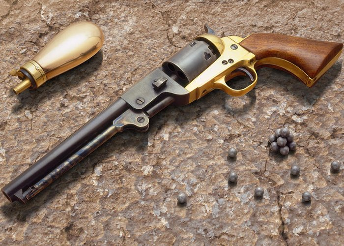 Revolver Greeting Card featuring the photograph 1851 Navy Revolver 36 Caliber by Mike McGlothlen