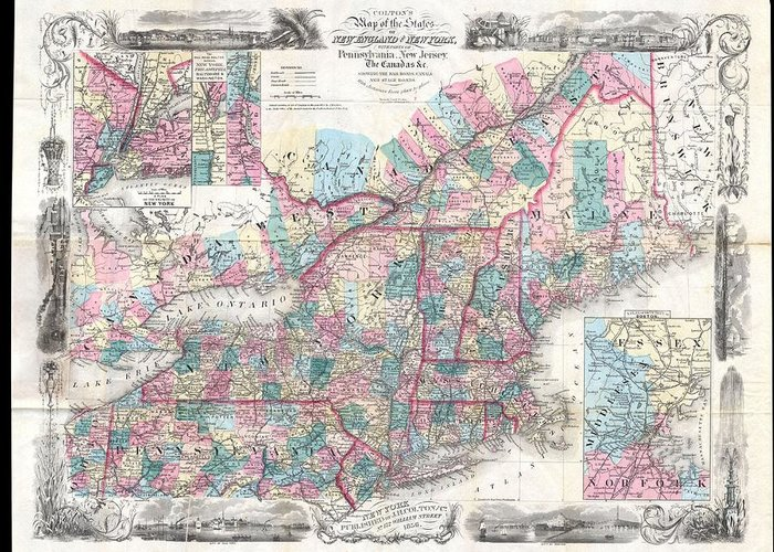 Greeting Card featuring the photograph 1856 Colton Pocket Map Of New England And New York by Paul Fearn
