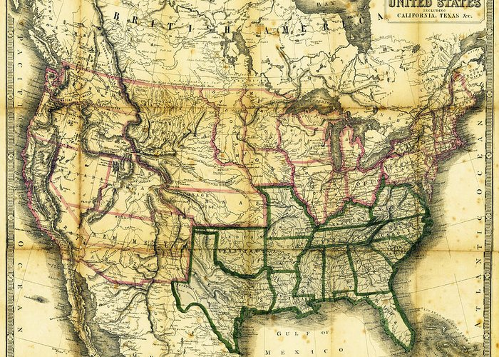 Map Greeting Card featuring the photograph 1861 United States Map by Daniel Hagerman