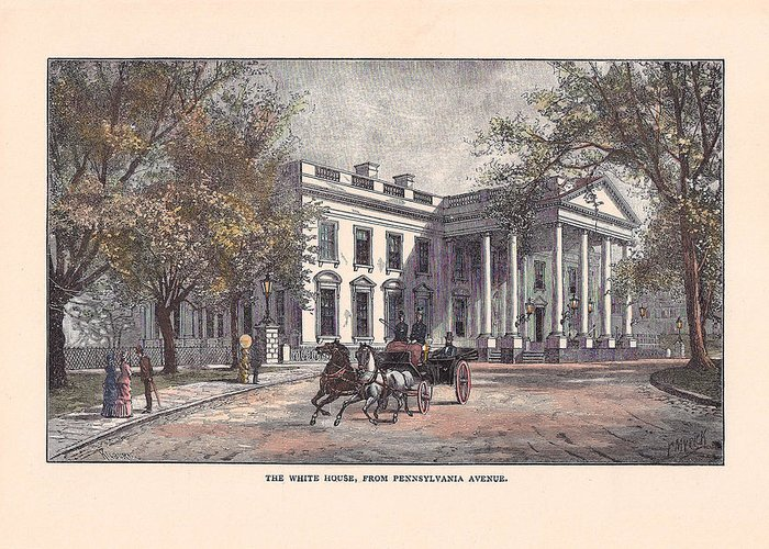 White House Greeting Card featuring the drawing 1870's White House by Charles Somerville