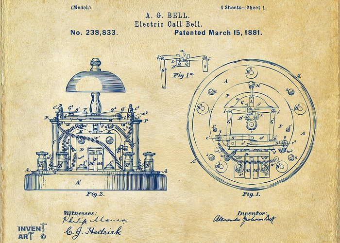 1881 alexander graham bell electric call bell patent vintage alexander graham bell greeting card featuring the digital art 1881 alexander graham bell electric call bell m4hsunfo