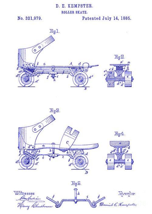 1885 Roller Skate Patent Drawing Greeting Card featuring the drawing 1885 Roller Skate Patent Blueprint by Jon Neidert