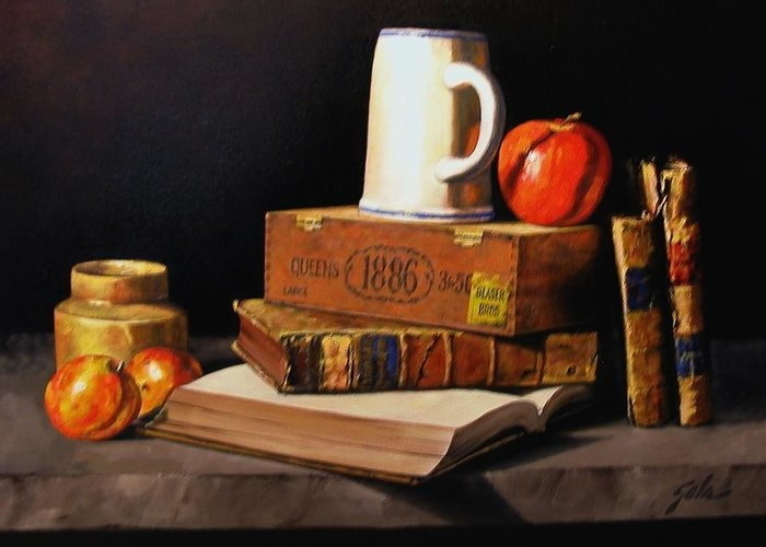 Still Life Greeting Card featuring the painting 1886 by Jim Gola