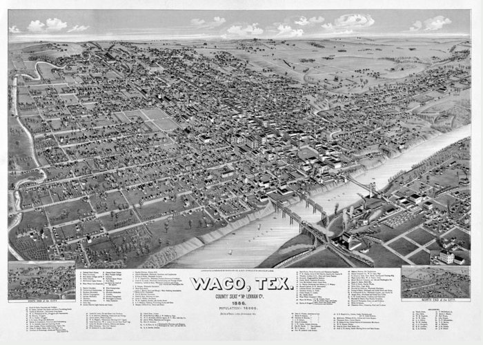 Waco Greeting Card featuring the photograph 1886 Vintage Map Of Waco Texas by Stephen Stookey