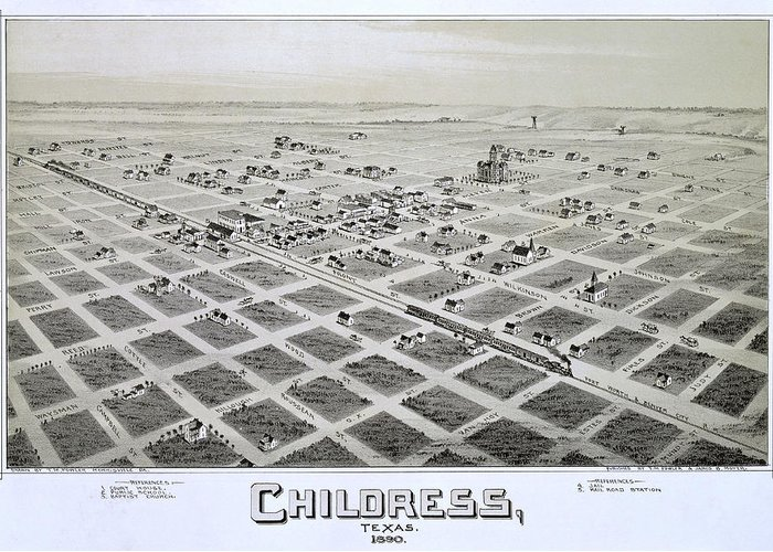 Map Greeting Card featuring the photograph 1890 Vintage Map Of Childress Texas by Stephen Stookey