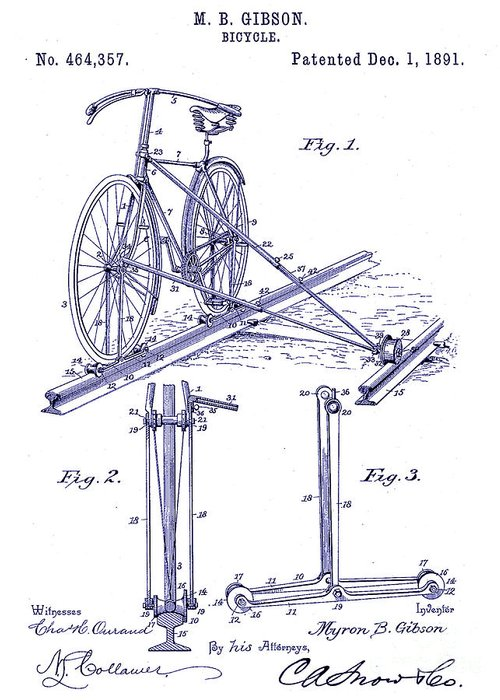 1891 Bicycle Patent Blueprint Greeting Card featuring the drawing 1891 Bicycle Patent Blueprint by Jon Neidert