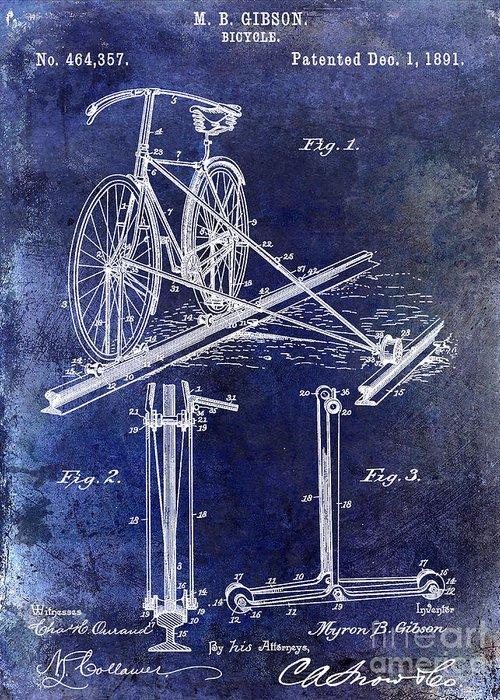 1891 Bicycle Patent Blueprint Greeting Card featuring the drawing 1891 Bicycle Patent Drawing Blue by Jon Neidert