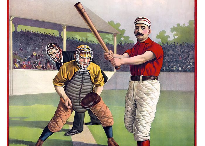 Baseball Greeting Card featuring the photograph 1895 Batter Up At Home Plate by Daniel Hagerman
