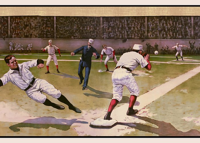 Baseball Greeting Card featuring the digital art 1898 Baseball - American Pastime by Daniel Hagerman