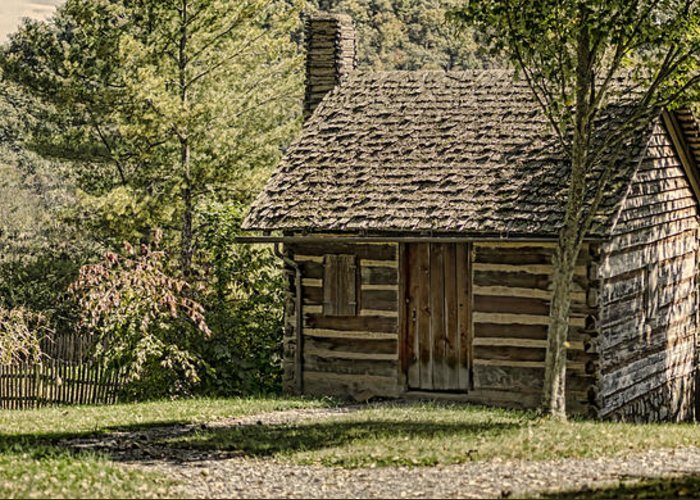 Log House Greeting Card featuring the photograph 18th Century by Heather Applegate