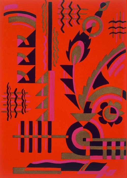 Motif Greeting Card featuring the painting Design From Nouvelles Compositions Decoratives by Serge Gladky