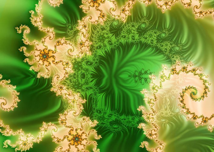 Abstract Greeting Card featuring the ceramic art Fantasy Fractal by Odon Czintos