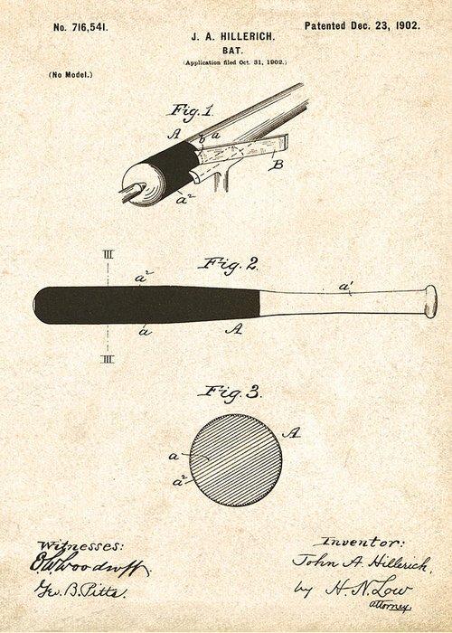 John Greeting Card featuring the digital art 1902 Baseball Bat Patent by Bill Cannon