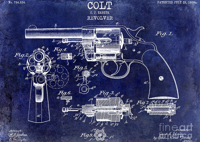 Colt Revolver Greeting Card featuring the photograph 1903 Colt Revolver Patent Drawing Blue by Jon Neidert