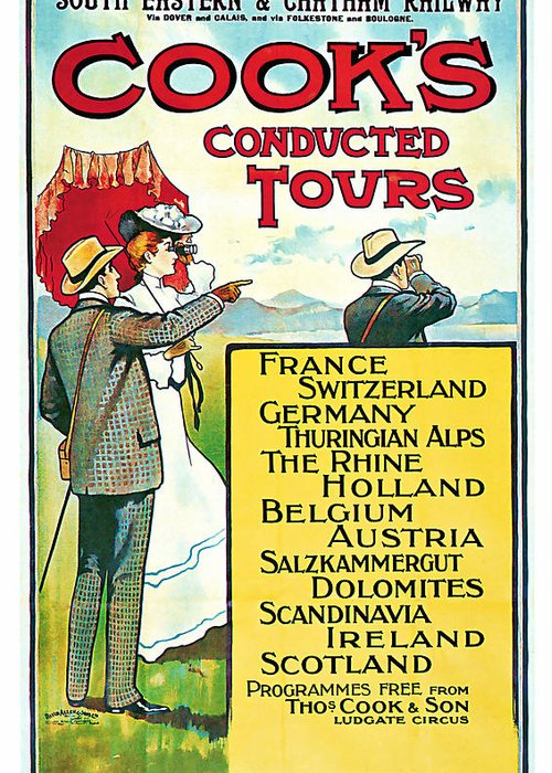 Vintage Greeting Card featuring the mixed media 1904 Cooks Conduted Tours Vintage Travel Art by Presented By American Classic Art