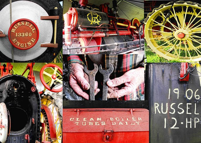 Collage Greeting Card featuring the photograph 1906 Russell Steam Engine by Kristie Bonnewell