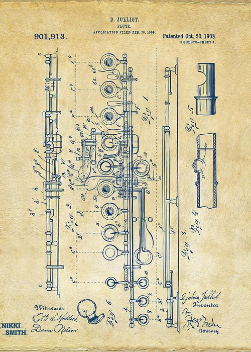 Flute Greeting Card featuring the digital art 1908 Flute Patent - Vintage by Nikki Marie Smith
