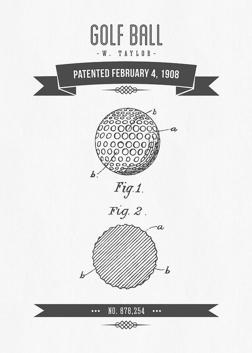 Golf Greeting Card featuring the digital art 1908 Taylor Golf Ball Patent Drawing - Retro Gray by Aged Pixel