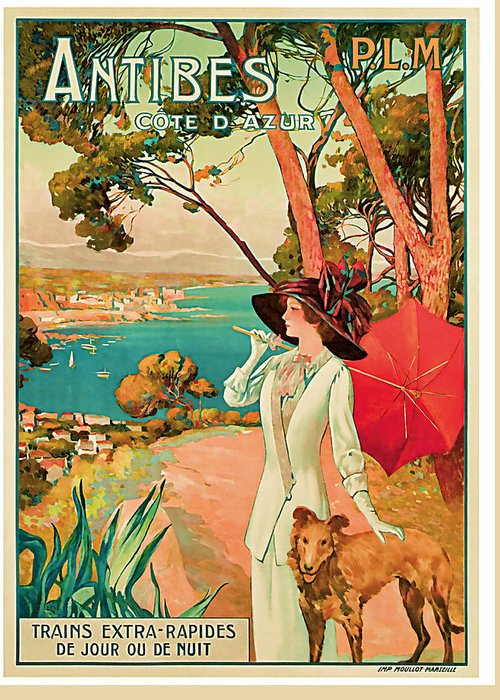 Vintage Greeting Card featuring the mixed media 1910 Antibes Vintage Travel Art by Presented By American Classic Art
