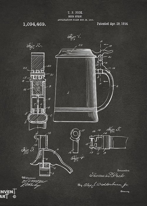 Beer Stein Greeting Card featuring the drawing 1914 Beer Stein Patent Artwork - Gray by Nikki Marie Smith