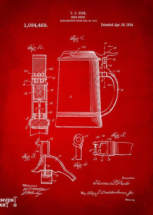 Beer Stein Greeting Card featuring the drawing 1914 Beer Stein Patent Artwork - Red by Nikki Marie Smith