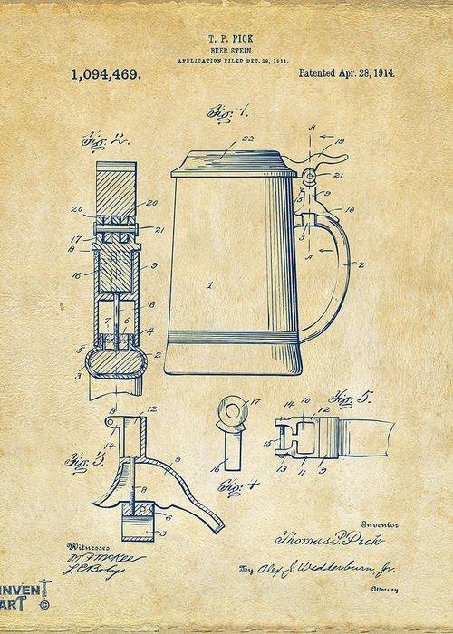 Beer Stein Greeting Card featuring the digital art 1914 Beer Stein Patent Artwork - Vintage by Nikki Marie Smith