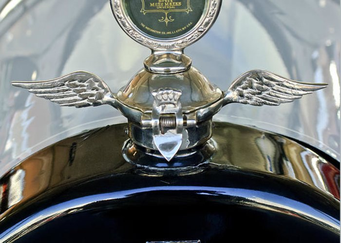 1915 Chevrolet 4 Door Touring Greeting Card featuring the photograph 1915 Chevrolet Touring Hood Ornament by Jill Reger