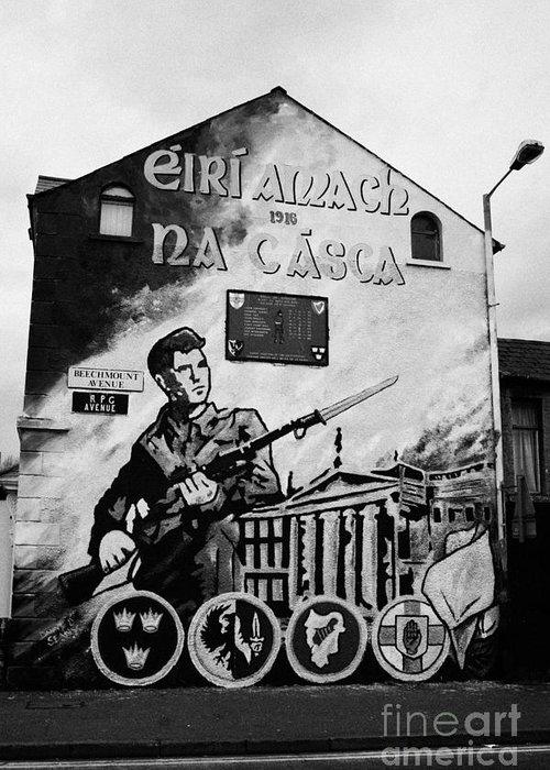 Ireland Greeting Card featuring the photograph 1916 Dublin Easter Rising Commemoration Republican Wall Mural Beechmount Rpg Belfast by Joe Fox