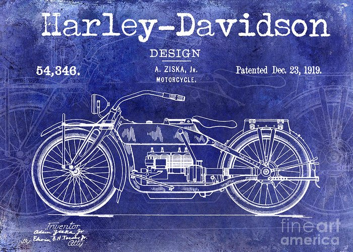 Harley Davidson Patent Greeting Cards