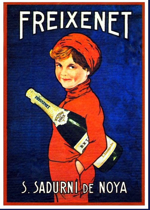 Freixenet Greeting Card featuring the digital art 1920 - Freixenet Wines - Advertisement Poster - Color by John Madison