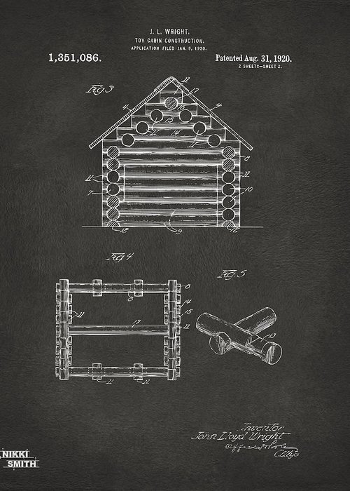 Lincoln Logs Greeting Card featuring the digital art 1920 Lincoln Log Cabin Patent Artwork - Gray by Nikki Marie Smith