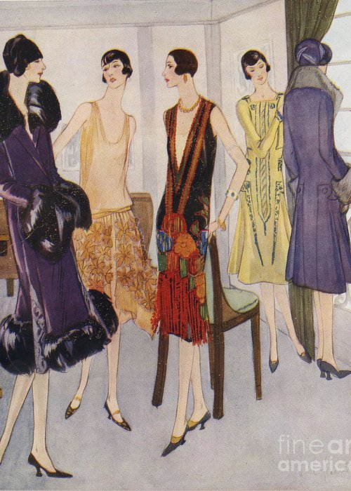 1920�s Greeting Card featuring the drawing 1920s Fashion 1925 1920s Uk Womens by The Advertising Archives
