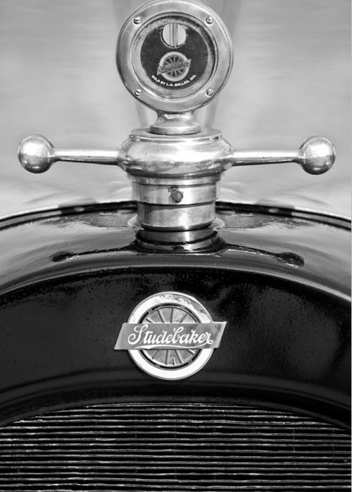 1922 Studebaker Touring Greeting Card featuring the photograph 1922 Studebaker Touring Hood Ornament 3 by Jill Reger