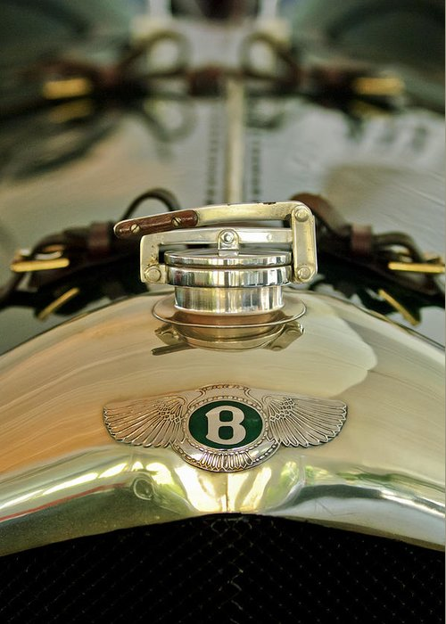 1925 Bentley 3-liter 100mph Supersports Brooklands Two-seater Greeting Card featuring the photograph 1925 Bentley 3-liter 100mph Supersports Brooklands Two-seater Radiator Cap by Jill Reger