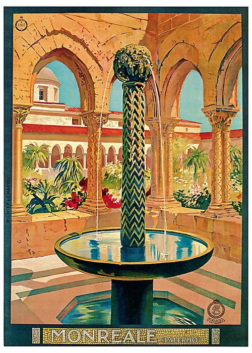 Vintage Greeting Card featuring the mixed media 1925 Monreale Vintage Travel Art by Presented By American Classic Art