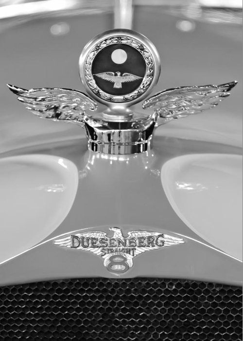 1926 Duesenberg Model A Greeting Card featuring the photograph 1926 Duesenberg Model A Boyce Motometer 2 by Jill Reger
