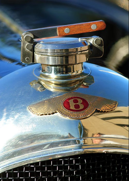 1927 Bentley Sports Greeting Card featuring the photograph 1927 Bentley Hood Ornament by Jill Reger