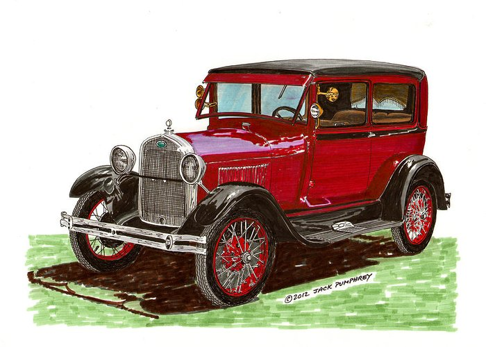 Framed Prints Of 1928 Model A Ford Two Door Sedans Greeting Card featuring the painting 1928 Ford Model A Two Door by Jack Pumphrey