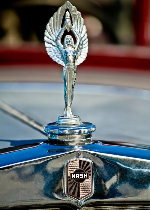 1928 Nash Coupe Greeting Card featuring the photograph 1928 Nash Coupe Hood Ornament 2 by Jill Reger
