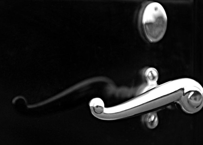 Black And White Greeting Card featuring the photograph 1928 Rolls-royce Phantom 1 Door Handle Black And White by Jill Reger
