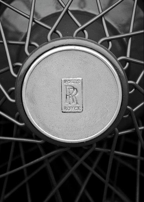 1928 Rolls-royce Greeting Card featuring the photograph 1928 Rolls-royce Spoke Wheel by Jill Reger