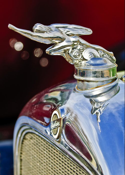 1928 Studebaker Greeting Card featuring the photograph 1928 Studebaker Hood Ornament 2 by Jill Reger