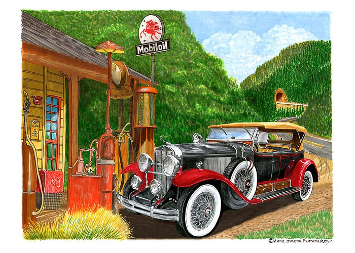 Classic Car Paintings Greeting Card featuring the painting 1929 Cadillac Dual Cowl Phaeton And Pegasus by Jack Pumphrey