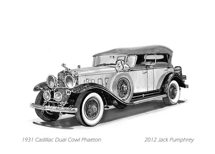 Pen And Ink Art Of Classic 1931 Cadillac Dual Cowl Phaeton By Jack Pumphrey Greeting Card featuring the painting 1931 Cadillac Phaeton by Jack Pumphrey