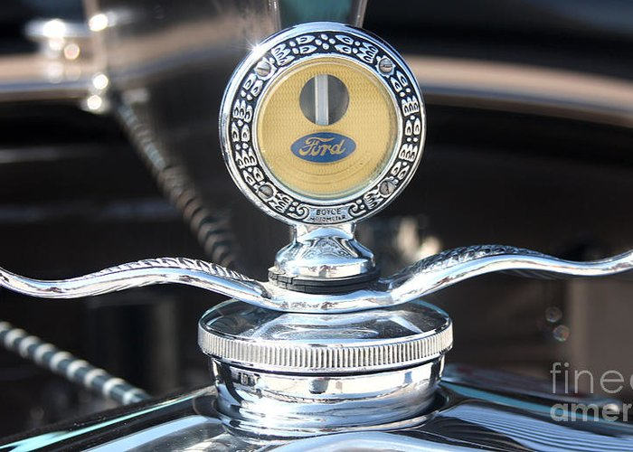 1930 Ford Model A Greeting Card featuring the photograph 1930 Ford Model A - Hood Ornament - 7488 by Gary Gingrich Galleries