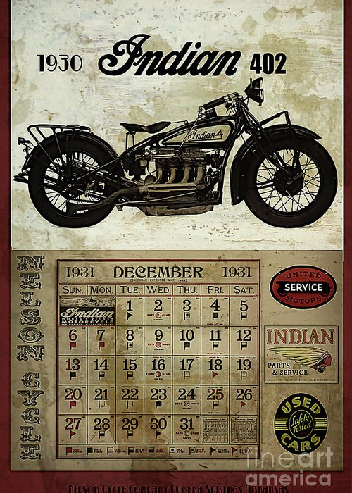 Motorcycle Greeting Card featuring the digital art 1930 Indian 402 by Cinema Photography