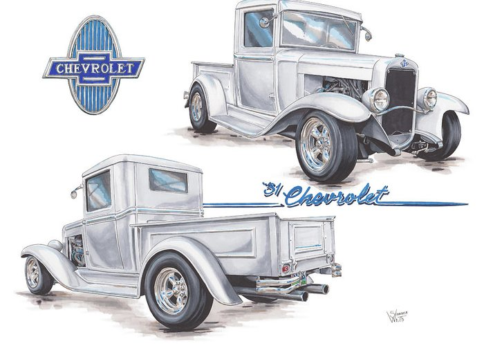 1931 Greeting Card featuring the drawing 1931 Chevrolet Truck Hot Rod by Shannon Watts