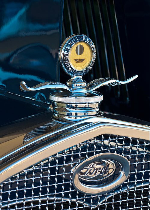 1931 Model A Ford Deluxe Roadster Greeting Card featuring the photograph 1931 Model A Ford Deluxe Roadster Hood Ornament by Jill Reger